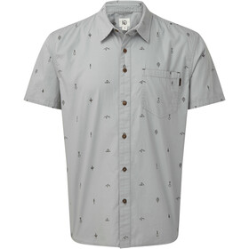 tentree Cotton SS Button-Up Shirt Herre hi rise grey/planting all over print